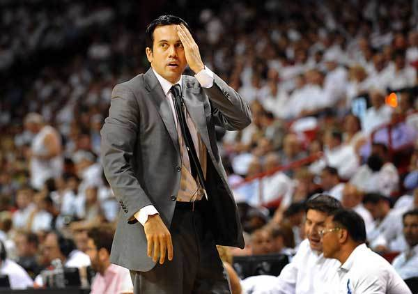 Heat head coach Erik Spoelstra sweats out a tight second quarter.