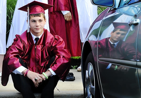 Aaron Rodgers of Funkstown reflects on his future Tuesday prior to graduation exercises for Washington County Technical High School.