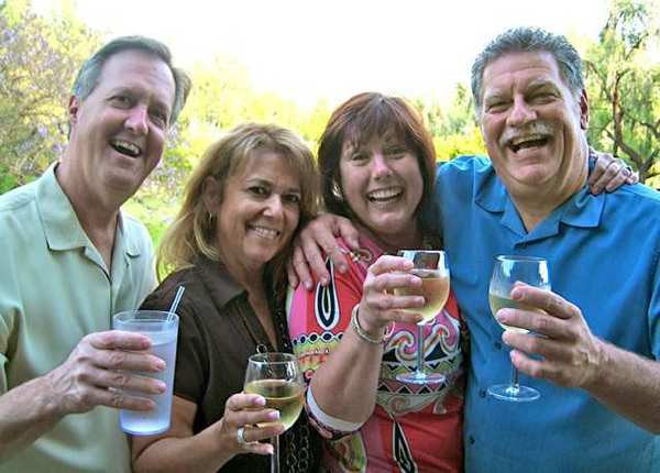 Offering up a toast to birthday girl Sue Ann Gordon are, from left, Keith Fletcher, Teresa Garcia, Sue Hawkins and Dean Whiteside.