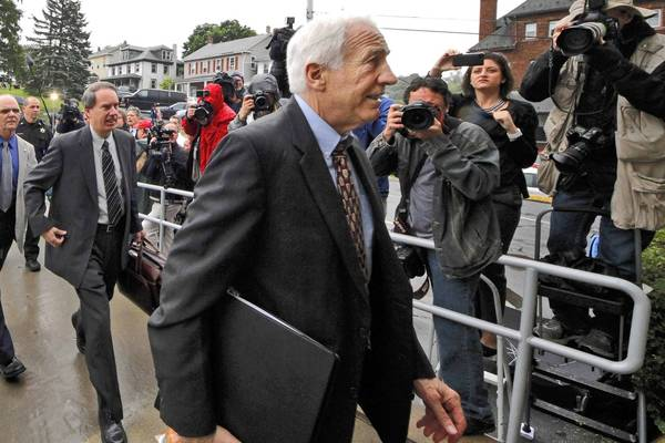 Former Penn State University assistant football coach Jerry Sandusky arrives at court.