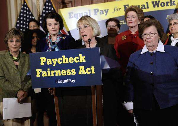 Sen. Patty Murray (D-Wash.) speaks about the Paycheck Fairness Act during a news conference with Sens. Barbara Boxer (D-Calif.), left, Dianne Feinstein (D-Calif.), Debbie Stabenow (D-Mich.) and Barbara A. Mikulski (D-Md.) at the Capitol late last month.