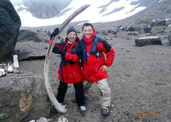 Agnes and Emerson Chang stand next to whale bones in Antarctica weeks after she underwent a lumpectomy.