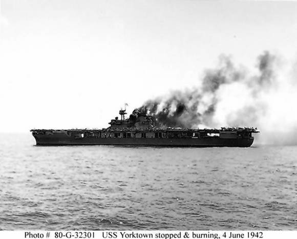 The USS Yorktown burns