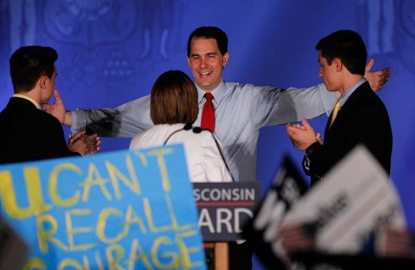 Wisconsin Gov. Scott Walker addresses a victory rally in Waukesha.