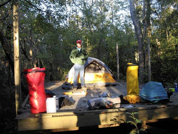 Steve Chapman on a camping platform on the Roanoke River