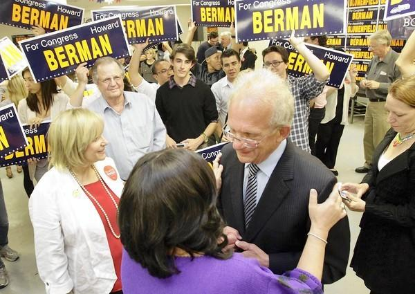 Rep. Howard Berman and his wife, Janis, are surrounded by supporters. He and Rep. Brad Sherman appear headed for a fall battle.