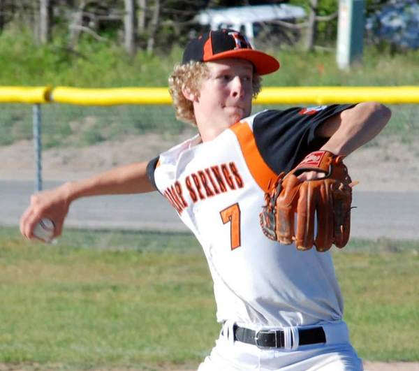 Harbor Springs sophomore Ean Walda pitches Tuesday during a 3-2 loss to Mancelona in a Division III district title game at East Jordan High School.