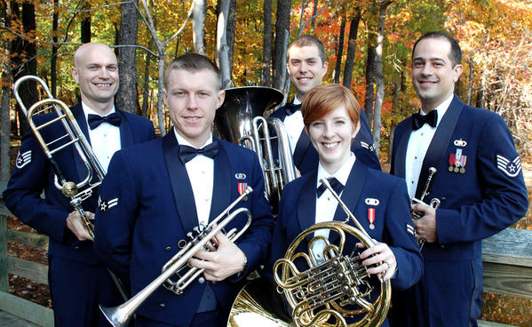 The U.S. Air Force Heritage Brass Ensemble includes, back row, from left, Technical Sgt. Jason Foster, Airman 1st Class Bud Holmes, Staff Sgt. Jonathan J. Rattay; and front row, from left, Senior Airman Carl Stanley and Airman 1st Class Emily Britton.