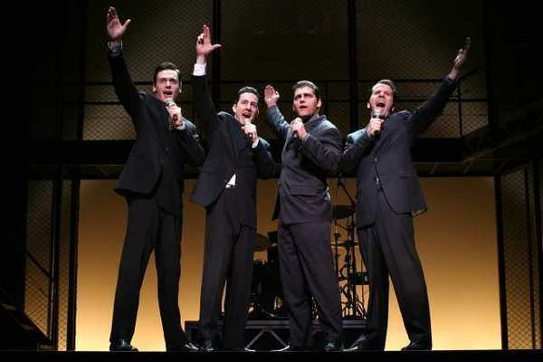 "Erich Bergen, Christopher Kale Jones, Deven May and Steve Gouveia, left to right, in ""Jersey Boys. """