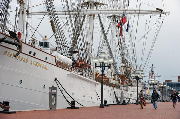 The Statsraad Lehmkuhl, left, the Royal Norwegian Navy's sail training tall ship, docked at the Inner Harbor, served as backdrop for the ceremony that launched the Star-Spangled Sailabration.