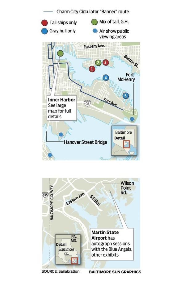 These are the locations for non-Inner Harbor celebration areas.<br> <br> 1. Frederick Douglass Pier (2 ships) 2. Broadway Pier (6 ships) 3. Ann Street Pier (1 ship) 4. Tide Point (1 ship) 5. North Locust Point (8 ships. Visitors must take a bus from M&T Stadium for access)