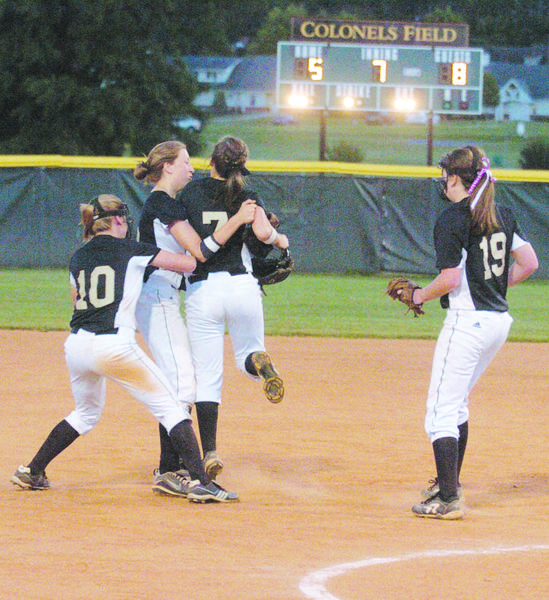 Boyle County players, from left, Lauren Richards, Lindsey Edwards, Cullen Byrne and Hannah Miniard celebrate after the Rebels 12th Region title game win over Mercer County last week.