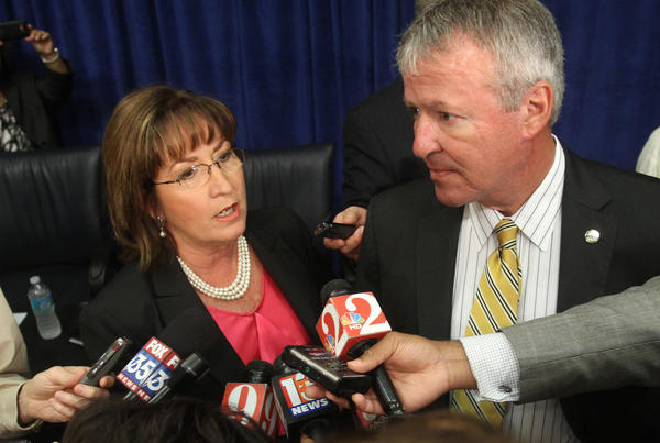 Orange County mayor Teresa Jacobs and Orlando mayor Buddy Dyer meet to discuss the future of the Florida Citrus Bowl renovations, at the Orange County Commission chambers in downtown Orlando,  Wednesday, June 6, 2012.