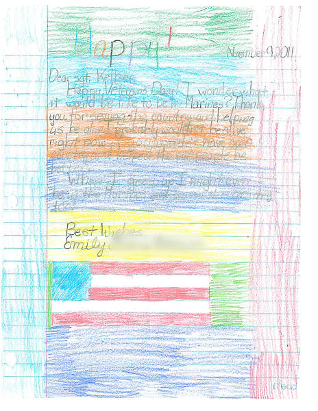 A letter from a third-grader in Oregon City, Ore., to USMC Sgt. Judah Kelber during his deployment to Afghanistan.