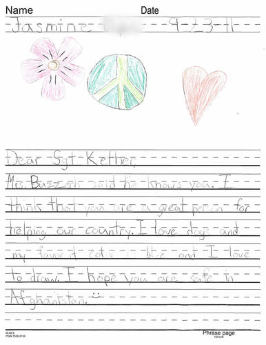 A letter from a sixth-grader in Berwyn Heights, Md., to USMC Sgt. Judah Kelber during his deployment to Afghanistan.