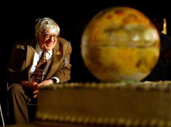 Ray Bradbury is shown celebrating his 83th birthday in 2003 at the Mt. Wilson Observatory in Los Angeles.