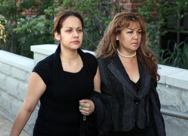 Sandra Vasquez, left, shown during her June 2010 trial, accompanied by her mother Monica Vasquez.