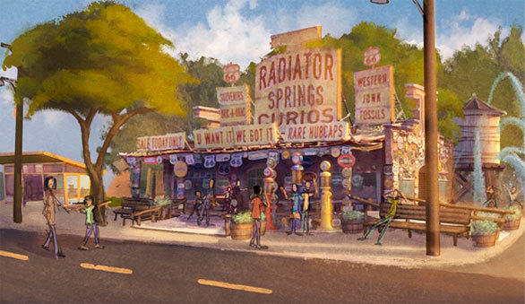 An artist rendering of Radiator Springs Curio Shop  in Radiator Springs at Disney California Adventure.