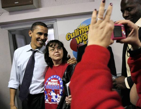 Then-Sen. Barack Obama with Culinary Workers Union member Elodia Rodriguez after a Las Vegas rally in January 2008. Local 226 has campaigned hard for Obama and other Democrats in past elections.