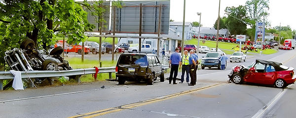 The scene of a three-vehicle crash Wednesday on Pa. 16, west of Waynesboro, Pa.