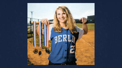 Sami Johnson of Berlin poses with her WestPAC and District 5 softball medals at the Lady Mountaineers' field. Johnson was voted this year's MVP.