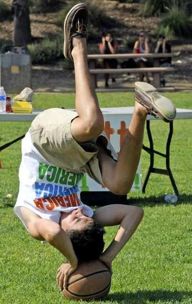 A teen has fun during the annual TACH Bash, hosted Teens for the Advancement of Children's Hospital, at Memorial Park in La Canada.