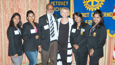 Petoskey resident and Rotary District 6290 governor Jane Millar (fourth from left) is shown with a Rotary Group Study Exchange team visiting Michigan from Bangladesh. They include (from left) Debarti Mazumder, Farzana Firoz, team leader Mohammed Zainul Abedin, Rawnak Jahan and Tanzeri Hoque.