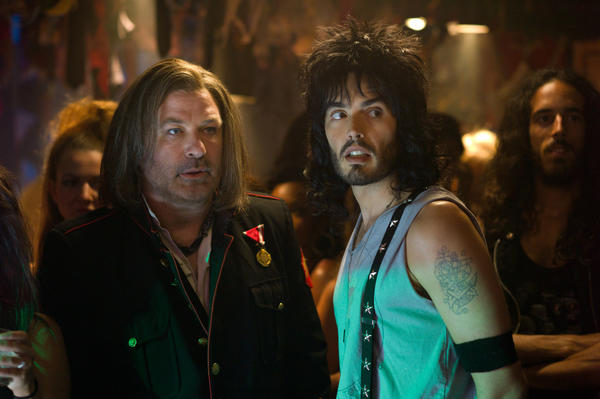 "Alec Baldwin as Dennis Dupree and Russell Brand as Lonny in New Line Cinema's rock musical ""Rock of Ages."""