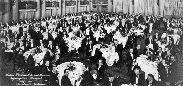 The Academy of Motion Picture Arts and Sciences, seen here at its first organizational meeting in 1927, remains largely white and male. (Hulton Archive / Getty Images)