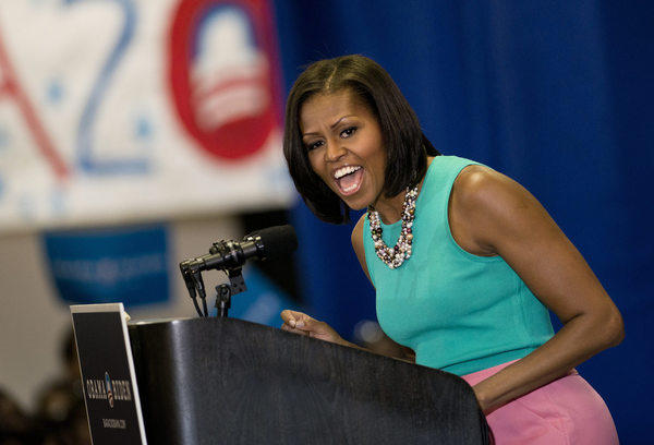 First Lady Michelle Obama speaks during a rally at the VFW Post 1503 in Dale City, Va.