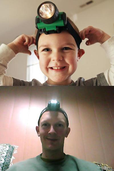 At top, Isaac Kelber shows off the head lamp he got for Christmas -- and especially loved because his dad, Sgt. Judah Kelber, wore his, too, while they video-chatted on Skype on Christmas Day, 2011. (Judah later sent the photo below, taken a day or two after Christmas.)