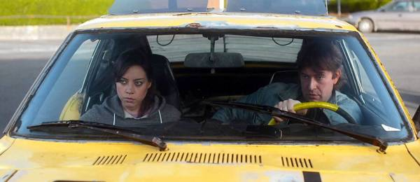 "Aubrey Plaza and Mark Duplass in ""Safety Not Guaranteed."""