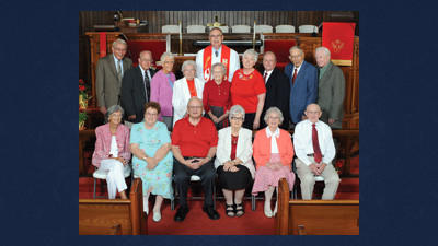 Calvary United Methodist Church recognized members who have been attending for 50 or more years. Among the 35 people recognized were from left, front row: Mary Urban, Ellen Hottle, Richard Colliver, Lois Young, Phyllis Moyer and Robert P. Moyer. Second row: Leroy Roberts, Herbert Tiffany, Barbara Tiffany, Betty Ann Runner, Sara Saylor, Lydia Welsh, Robert Bittner, Paul Matthews and Frederick F. Coffroth. Back row: Rev. Roger A. Peterson Jr.