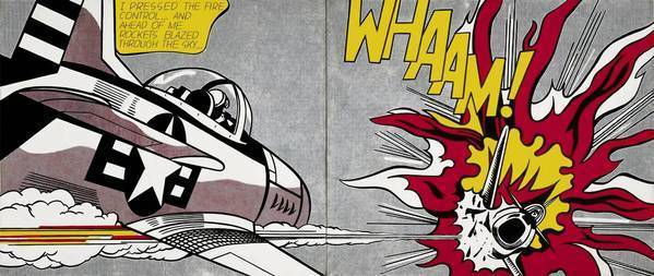 "Roy Lichtenstein's""Whaam!,"" 1963. Magna and oil on canvas."