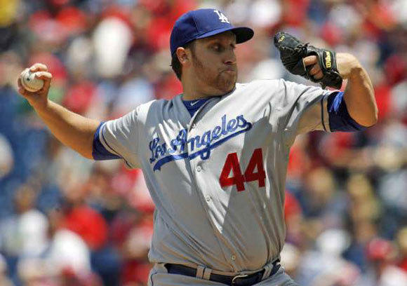 Aaron Harang pitches for the Dodgers during the first inning of their 8-3 win over the Phillies.