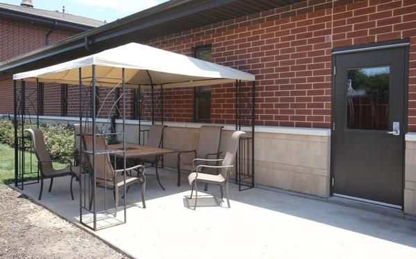 A veteran Elgin firefighter was sitting out on this patio when a pair of large dogs attacked.