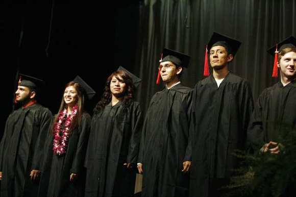 Monterey High graduates line up at their commencement ceremony at Luther Middle School in Burbank on Wednesday, June 6, 2012.