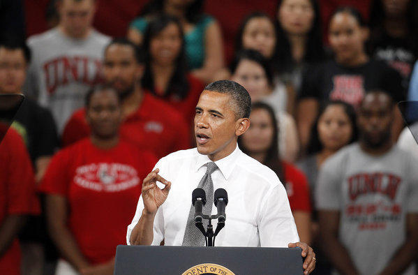 President Obama speaks at the University of Nevada-Las Vegas.