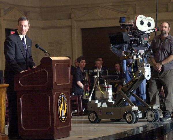 "Then-Mayor Martin O'Malley takes part in the filming of ""Ladder 49"" at the War Memorial Plaza in 2003."