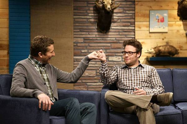 """Comedy Bang! Bang!"" host Scott Aukerman and guest Seth Rogen."