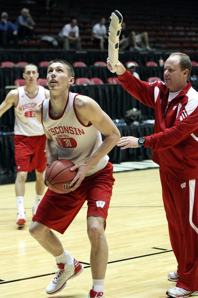 Former Wisconsin Badgers forward Jarrod Uthoff during practice for the second round of the 2012 NCAA men's basketball tournament.