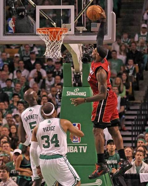LeBron James #6 of the Miami Heat dunks in the first quarter against the Boston Celtics in Game Six of the Eastern Conference Finals in the 2012 NBA Playoffs on June 7, 2012 at TD Garden in Boston, Massachusetts.