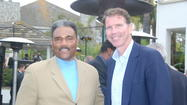Former UCLA basketball players Andre McCarter, left, and Kiki Vandeweghe appeared at the OC Bruin Bash.