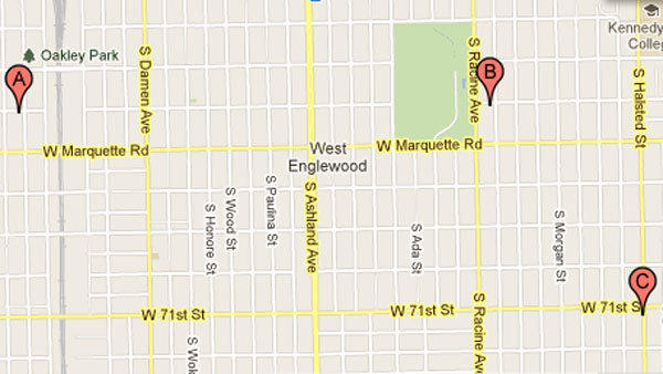 People were shot at these locations, police said.