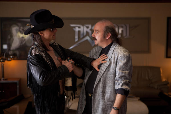 "Tom Cruise as Stacee Jaxx and Paul Giamatti as Paul Gill in New Line Cinema's rock musical ""Rock of Ages."""