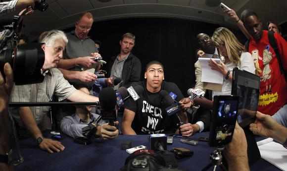 Former University of Kentucky center Anthony Davis talks with reporters Thursday in Chicago during a gathering of top prospects for the NBA's pre-draft combine.