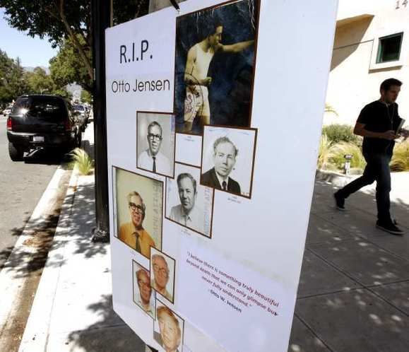 A memorial for 101-year-old Burbank photographer Otto Jensen was placed close to his studio on Olive Ave. on Wednesday, May 23, 2012
