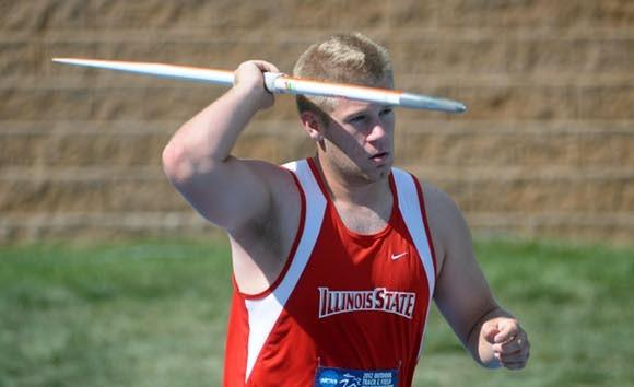Tim Glover winning another NCAA javelin title. (Kirby Lee - US Presswire)