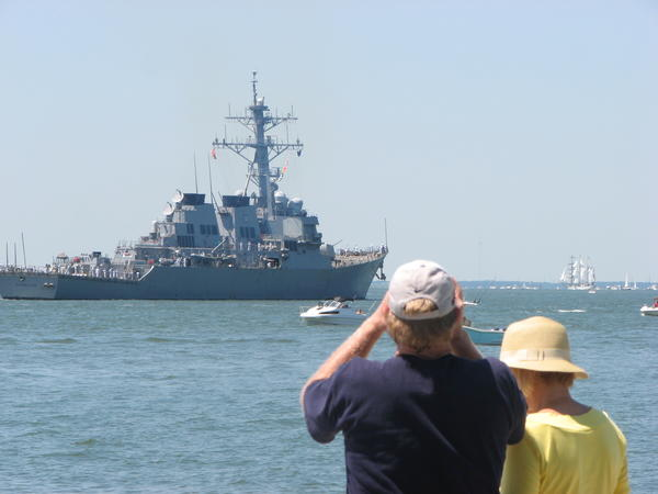 OpSail 2012: Spectators at Fort Monroe take in the sights during the Parade of Sail.