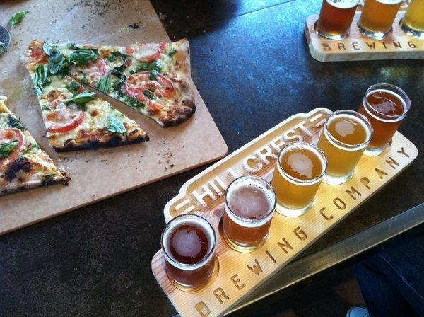 Pizza and beer flight at Hillcrest Brewing Co., which is marketing itself as the first LGBT brewery